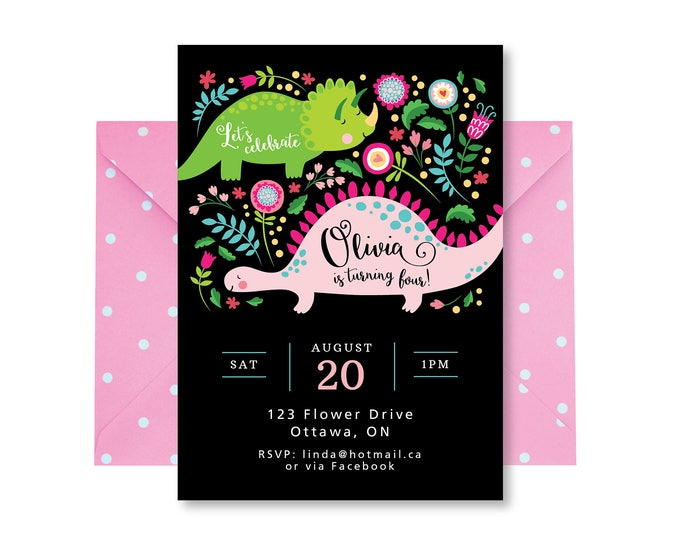 Girl's Dinosaur Invitation, Pink Dinosaur Invite, Printable, Digital Customized, Invitation, Cute Dinosaur Invite