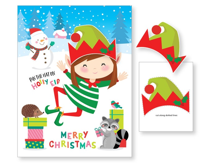 Pin the Hat on the Elf Game - holiday party game - DIY party game for school parties - Holly the Llf Game - digital files