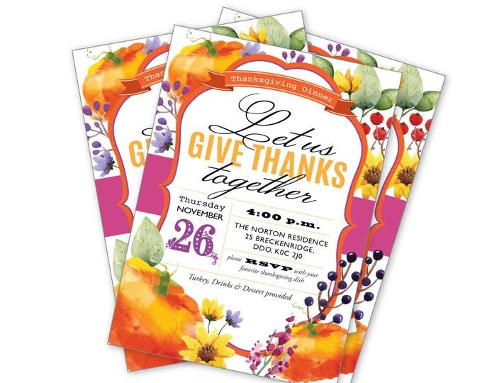 Printable thanksgiving invitation, EVITE, Friendsgiving invite, watercolour invitations, modern calligraphy invitation