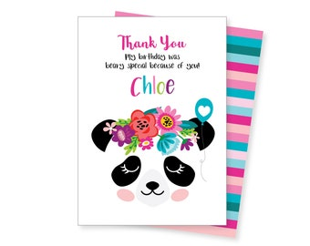 Panda Bear Fill In the Blank Thank You Cards Personalized \u2022 Custom Flat Card Stationery Custom Printed Notecard \u2022 Birthday Party Baby Shower