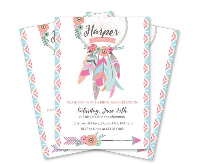 Dreamcatcher Invitation / girls dreamcatcher birthday / Printable, Customized, DIY invitation / arrows, feathers, tribal, native invite