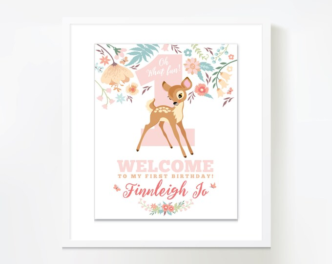 Baby Deer Welcome Sign, First Birthday Welcome Sign, Printable, Customized, DIY invitation, Girl's First Party, Woodland One-derland party