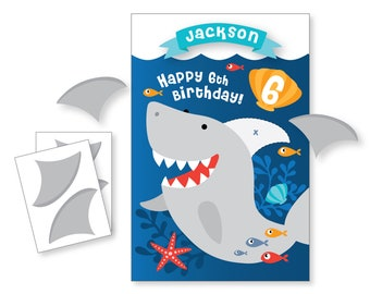 Pin the Fin on the Shark / Shark party game - DIY party game - party game for boys - Printable Digital Files / Pin the tail Game