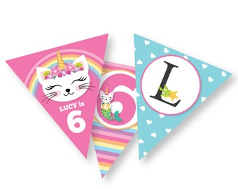 Caticorn Birthday Bunting, Pink Rainbow Cat Mermaid Banner, Garland, Printable, Customized, DIY bunting, Cat, Mermaid, Unicorn Birthday Girl