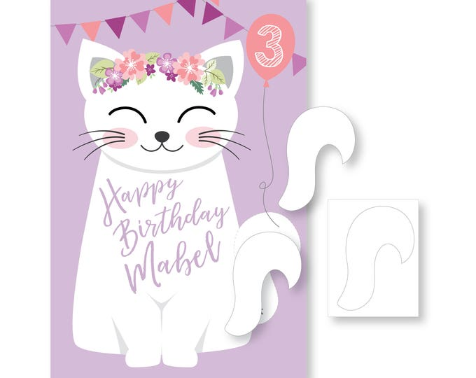 Pin the Tail on the Kitty / Cat- party game - DIY party game - party game for girls - cat game - digital files
