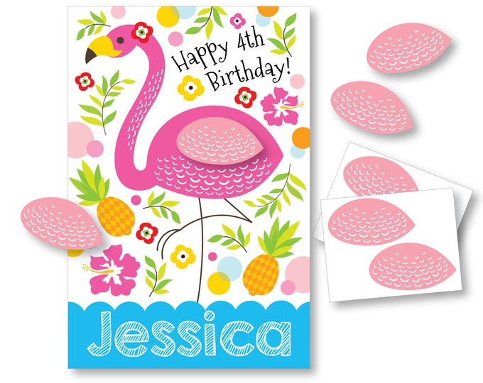 Pin the Wing on the Flamingo - Party Game - Printable Party Game - Flamingo Party Game - Flamingo Birthday Party Game