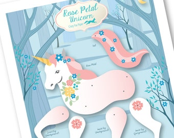 Articulated Paper Unicorn / Paper Puppet / Party Favor /  Paper Unicorn / Paper Doll Unicorn / Instant DIY Download