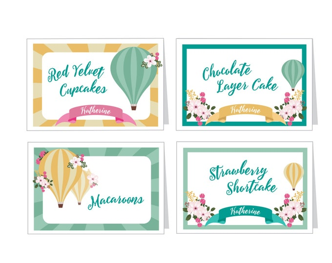 Hot Air Balloon Baby Shower - Food, Name, Tent Cards or Labels - Customized Printable DIY Place Cards,