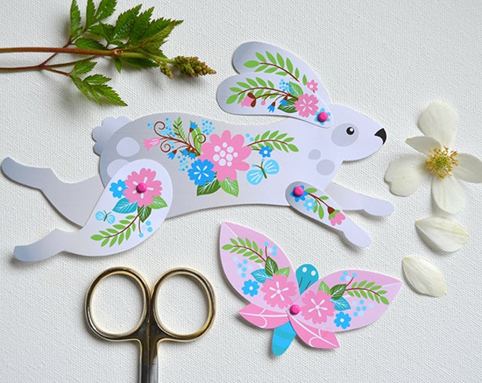 Instant DIY Download - Articulated Paper Rabbit with Butterfly