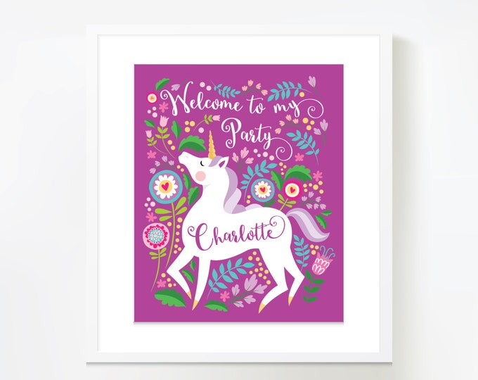 Unicorn Birthday Welcome Sign, Printable, Customized Text, Woodland Unicorn Party Sign, Unicorn Welcome Poster