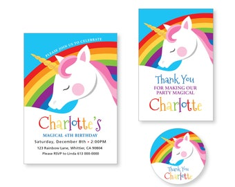 Unicorn, Rainbow Invitation, Thank You & Favor Tags / Cute Unicorn Rainbow / Printable, Customized, DIY Digital Files  / Party Package