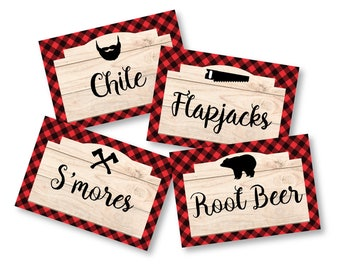 Lumberjack Party  - Food, Name, Tent Cards or Labels - Customized Printable DIY Place Cards - Rustic Food Tags, Lumberjack Tent Cards