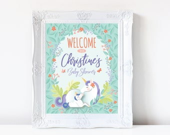 Mother and Baby Unicorn Shower Welcome Sign, Printable, Customized, Digital files - woodland theme, magical unicorn baby shower welcome sign