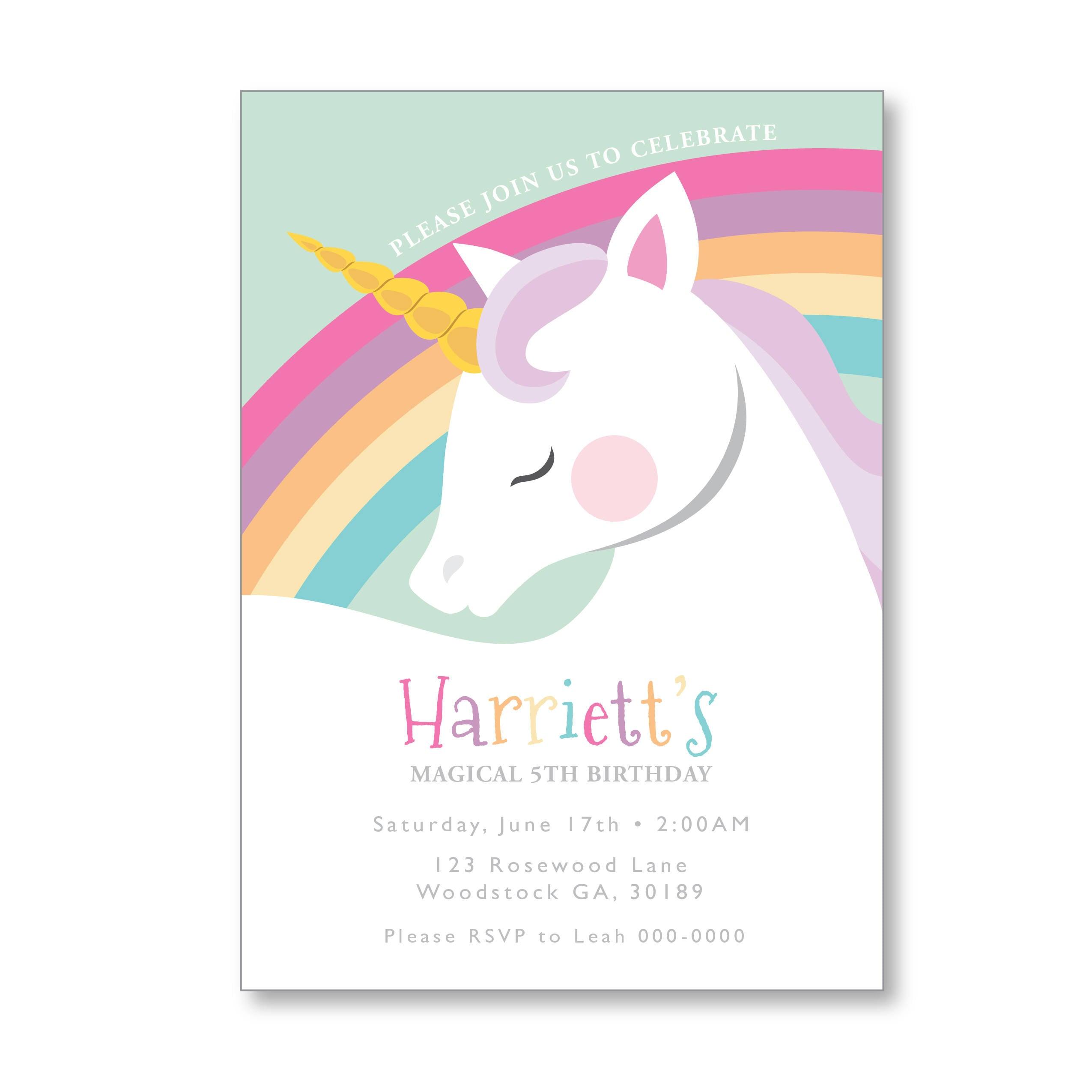 Unicorn Rainbow Birthday Invitation Printable Customized DIY Girls Invite