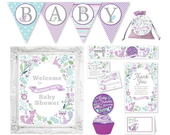 Purple Woodland Baby Shower Party Package, Woodland Animals Party Decorations, Forest Animals Party, Baby Shower Decor, Printable Party Pack