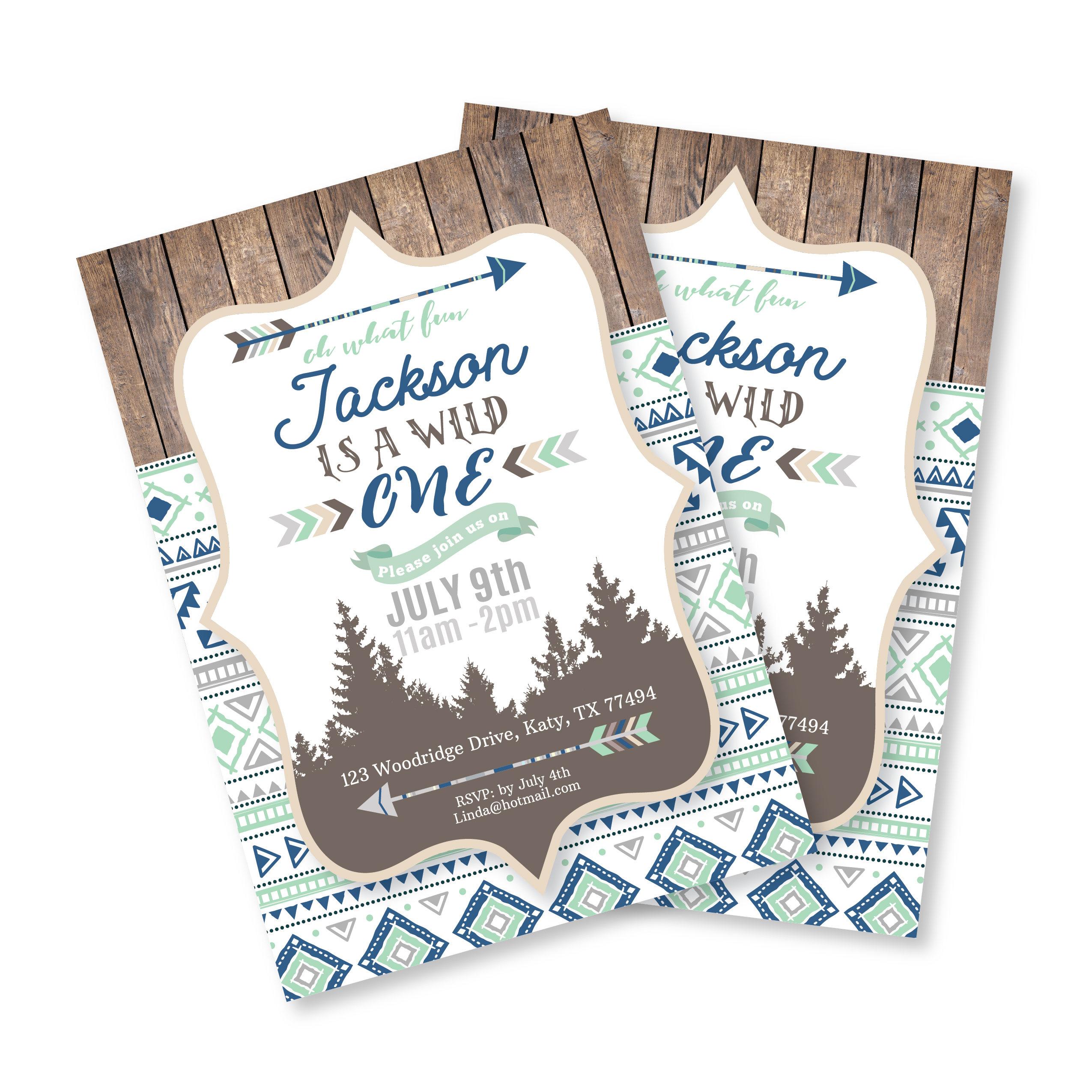 Wild One Birthday Invitation, First Birthday Invite, Printable ...