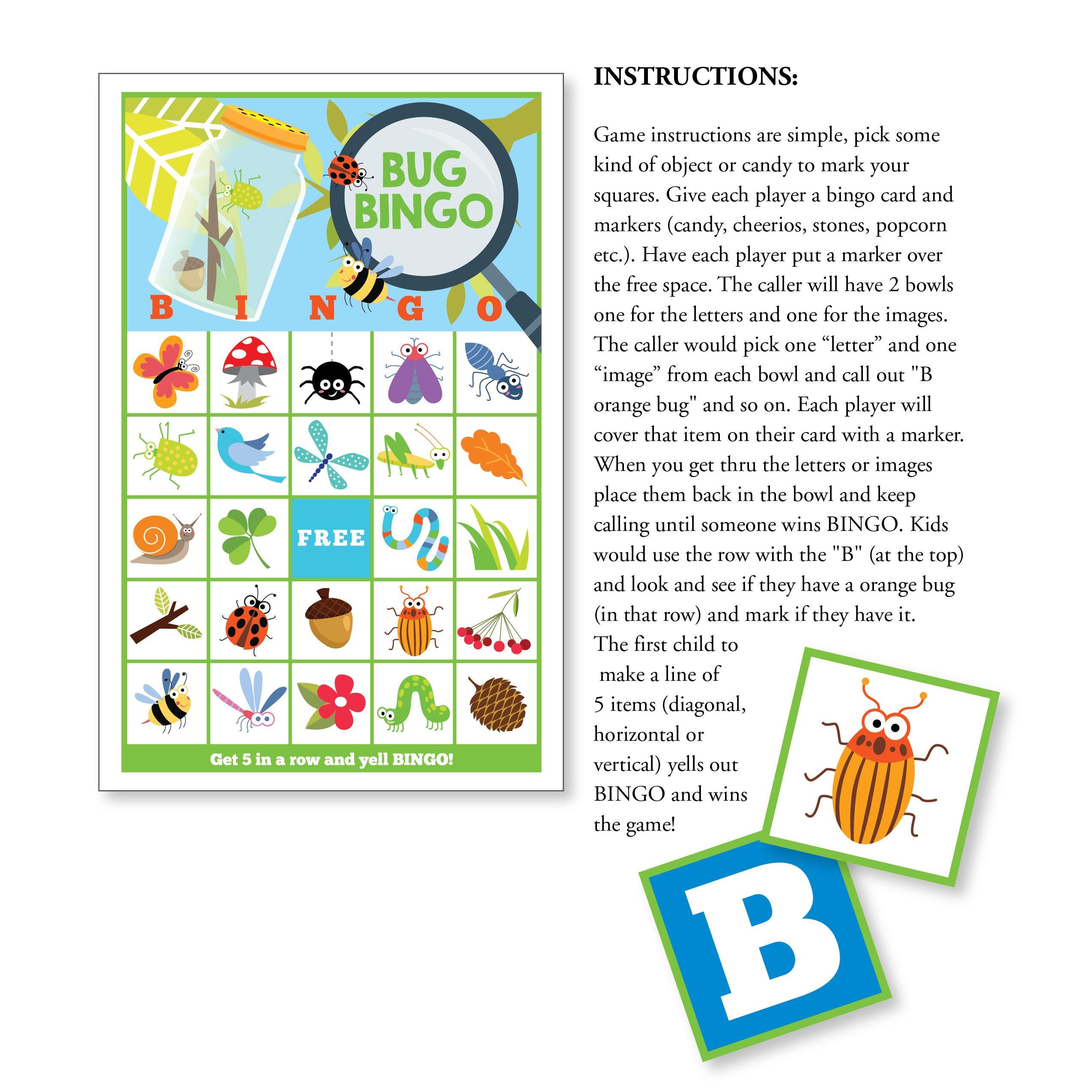 Bug Bingo Game Kid S Printable Bingo Game Bingo Game For Kids Bug Nature Instant Download