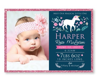 Unicorn Birth Announcement - Photo Baby Girl Announcement - DIY printable digital file - unicorn, woodland flowers, butterflies & glitter