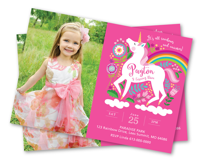 Photo Unicorn Invitation, Unicorn Rainbow Birthday Party, Unicorn Invitation, Personalized Printable DIY, girls photo invite