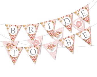 """Bridal Tea Party bunting/banner, """"Bride to be"""" bunting, Bridal Shower Instant Download, Printable DIY, Teacup, Roses, Lace bunting"""
