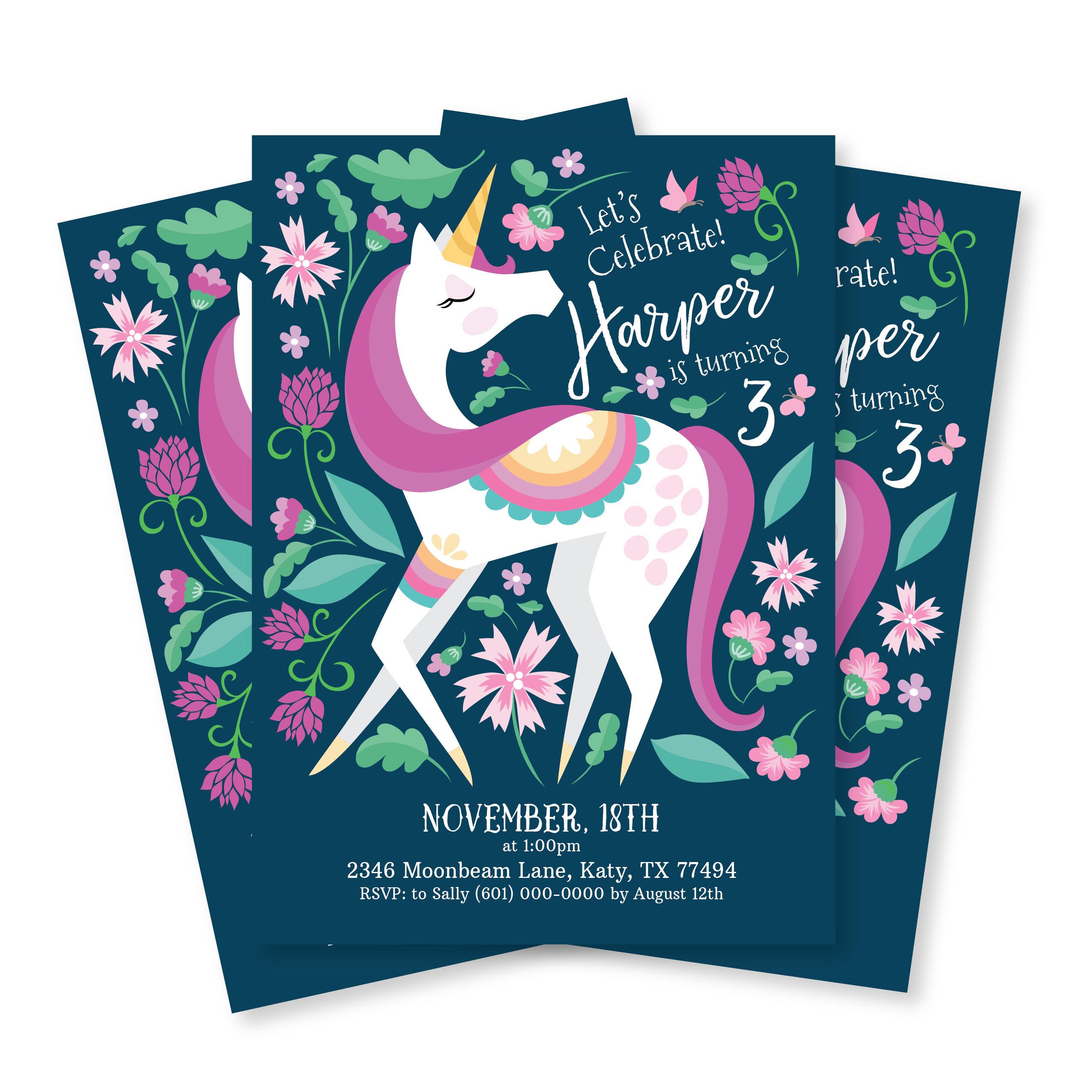 Unicorn Invitation, Girl's Unicorn Party, Floral Unicorn ...