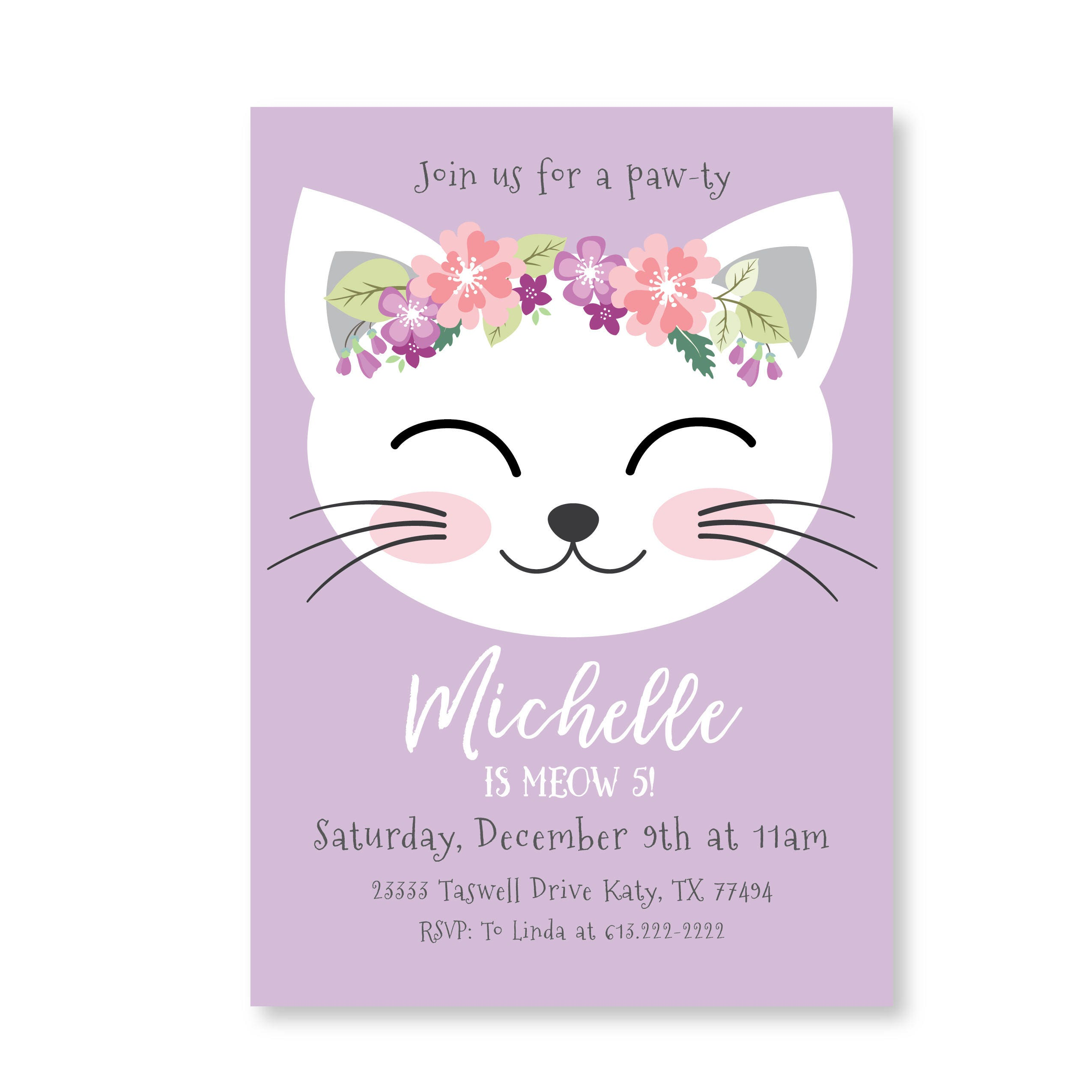 Cat Birthday Party Invitation, Kitten Invitation, Cat Birthday, Girl ...