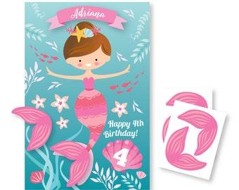Pin the Tail on the Mermaid / Mermaid- party game - DIY party game - party game for girls - pink or purple mermaid, digital files