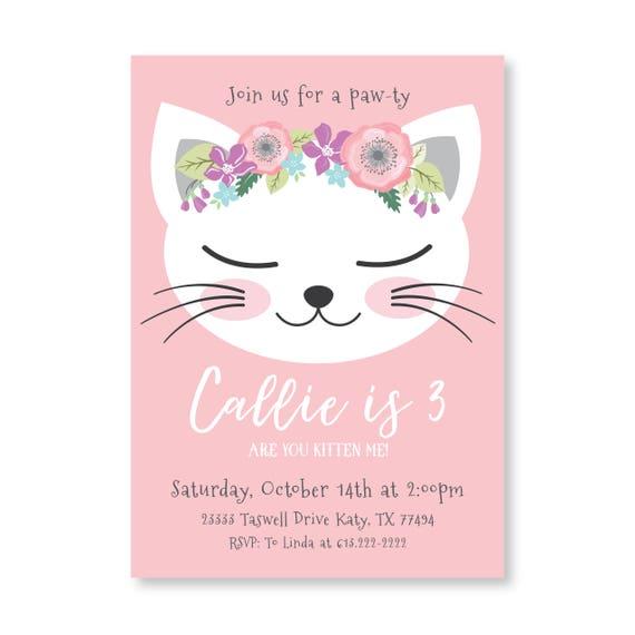 Cat Birthday Party Invitation Kitten Cat Birthday Girl Etsy