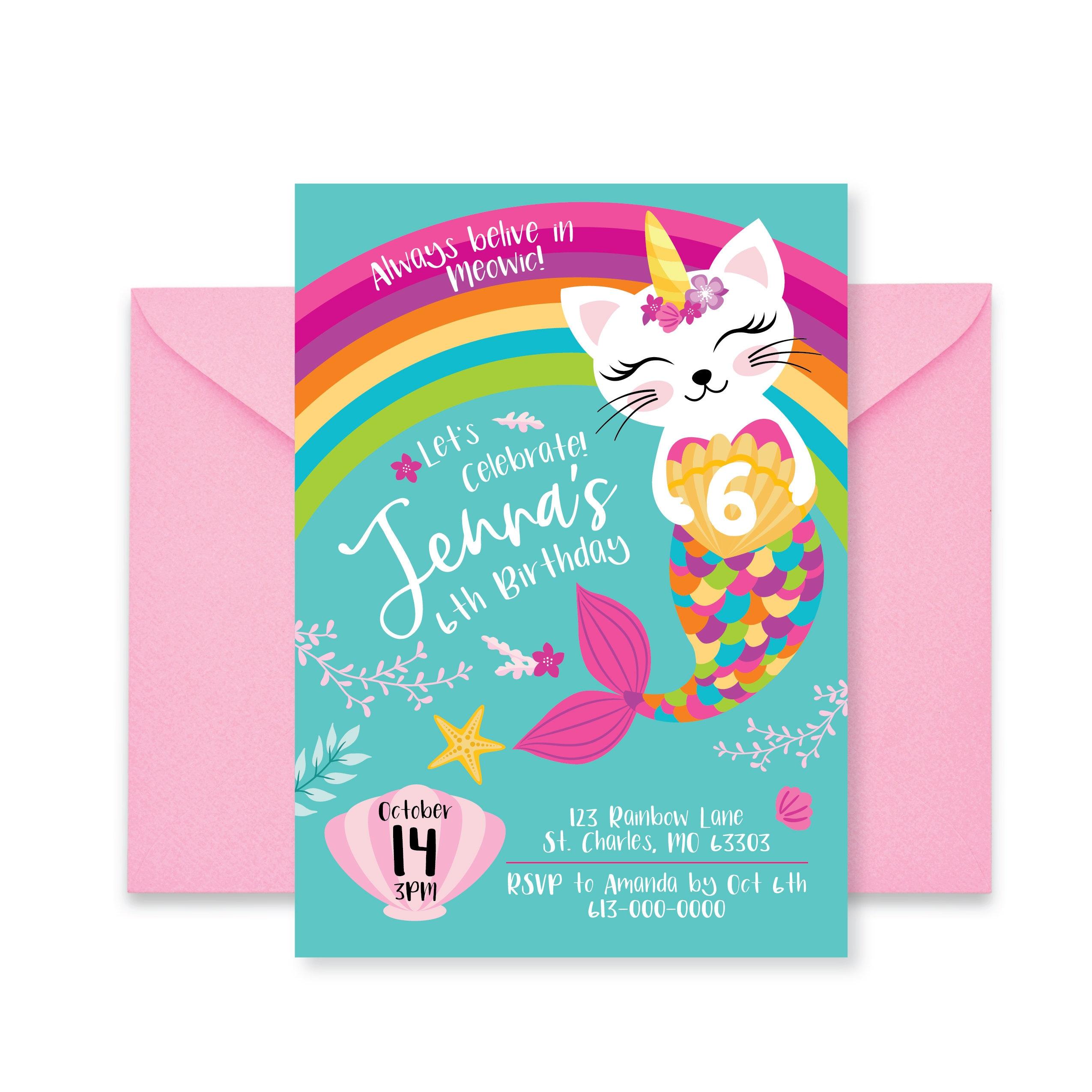 Unicorn And Cat Birthday Card For Granddaughter: Caticorn, Rainbow Birthday Party Invitation, Cat, Mermaid