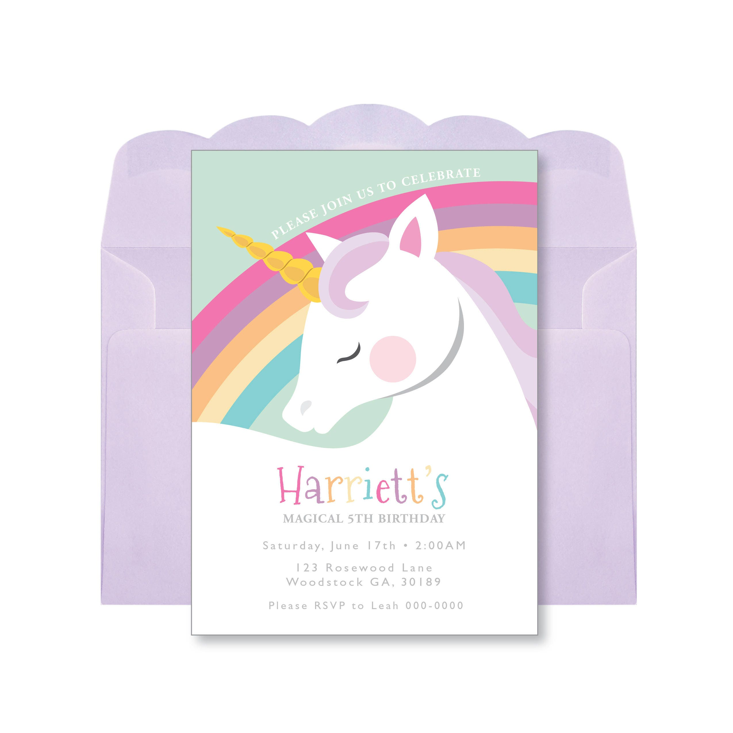 unicorn rainbow birthday invitation printable customized diy