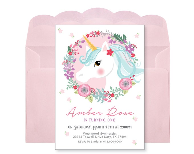 Unicorn Birthday Invitation, Unicorn Invitation, Unicorn Party, Girls Birthday, Floral Unicorn, Pink Unicorn, Woodland Unicorn