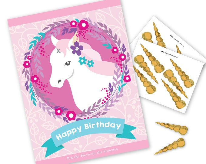 Pin the Horn on the Unicorn- Birthday Party game - DIY party game - Unicorn party game