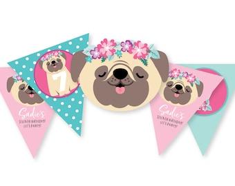 Pug Birthday Bunting, Pink Pug Banner, Dog Garland, Printable, Customized, DIY bunting, Pug, Dog, Girl's Birthday Party, digital files