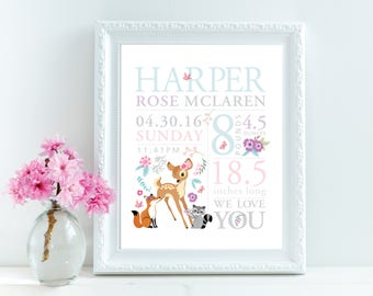 Birth announcement wall art, woodland animals/fawn/flowers, personalized, baby print, date of birth art, print birth stats, baby keepsake