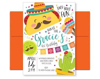 Taco Fiesta Birthday Invitation, Mexican party invite, cinco de mayo, printable, digital file, boy  or girl fiesta/taco party