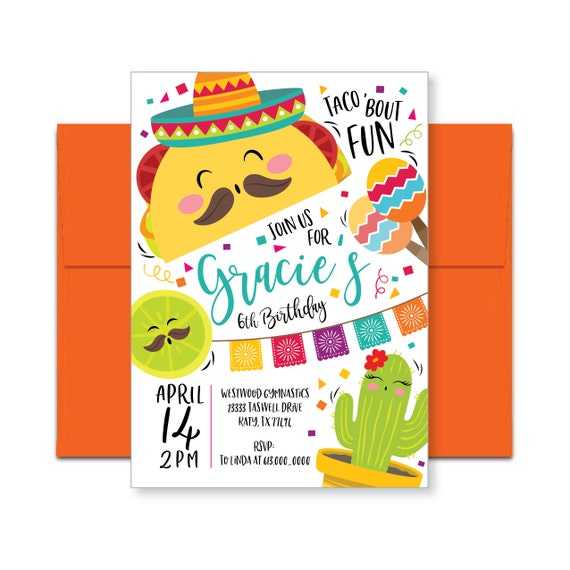 taco fiesta birthday invitation mexican party invite cinco etsy