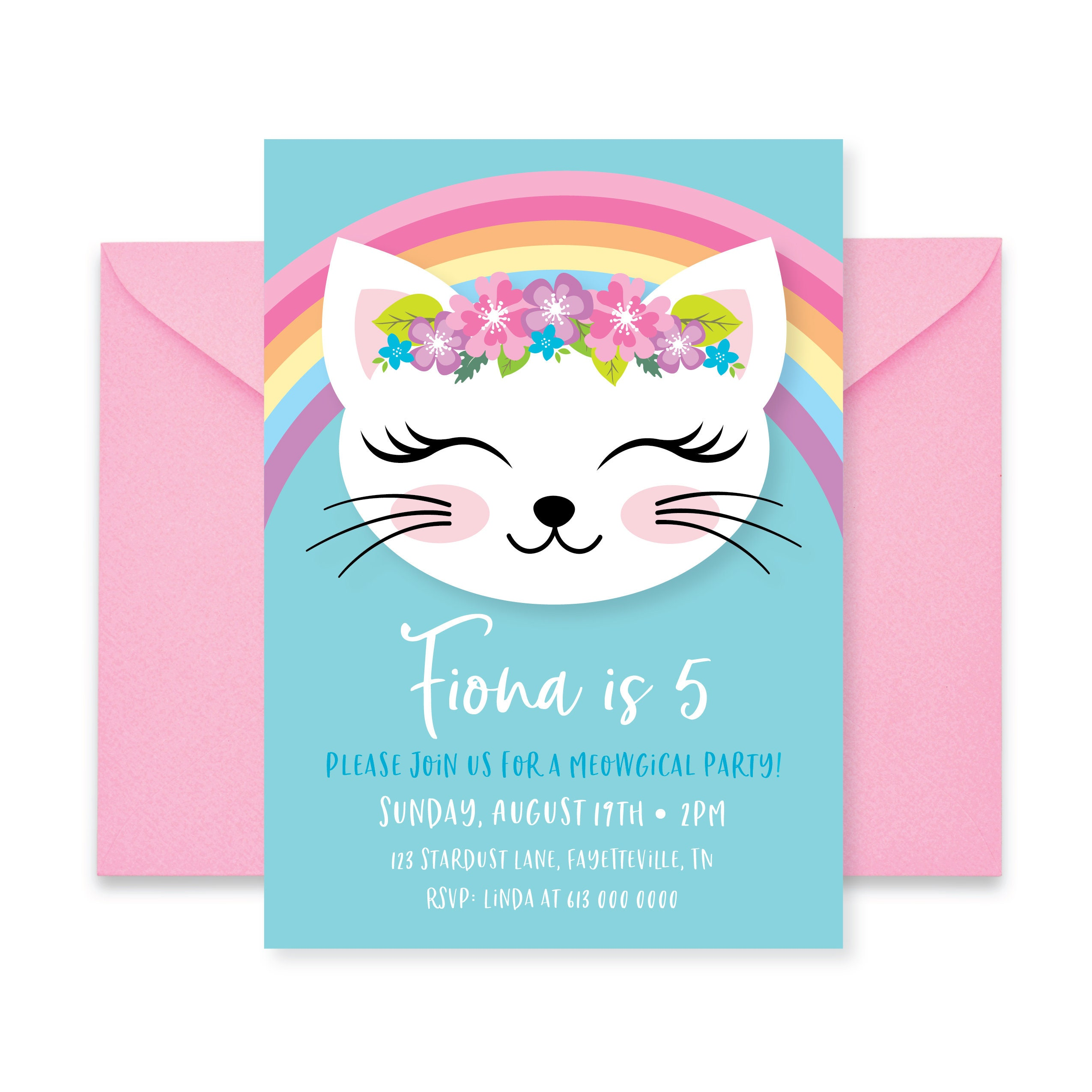 Cat Birthday Girl Printable Invitation Are You Kitten Me Rainbow Kitty Party Gallery Photo