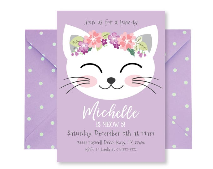 Cat Birthday Party Invitation, Kitten Invitation, Cat Birthday, Girl Printable Invitation, Girl 3rd Birthday, Kitty Party, 1st Birthday