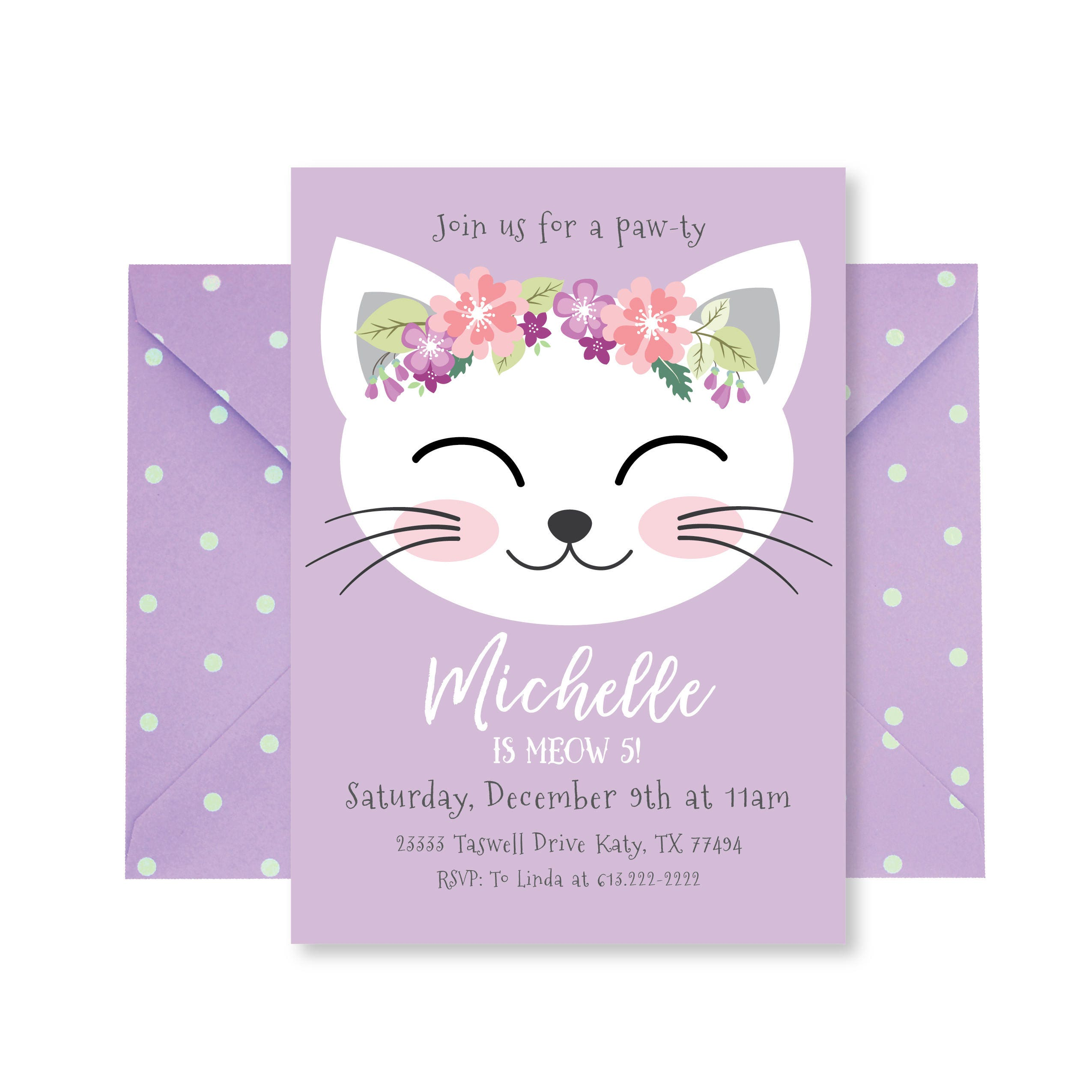 Cat Birthday Party Invitation Kitten Girl