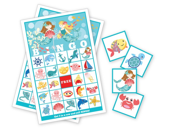 Mermaid BINGO Game - Kid's Printable Bingo Game - Bingo Game for Kids - Mermaid Instant Download