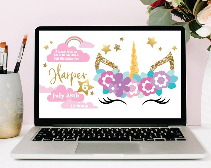Sleeping Unicorn Facebook Event Header / Unicorn Birthday / Unicorn Facebook Cover, Customized Facebook Header Page / Digital Files
