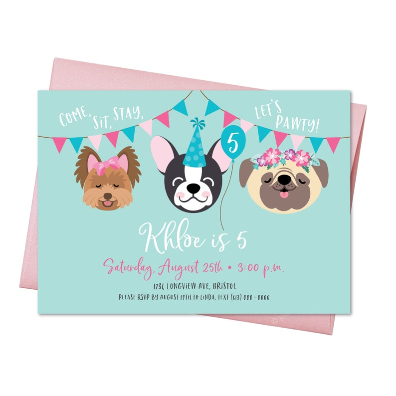 Dog Birthday Party Invitation Pug Boston Terrier Yorkie