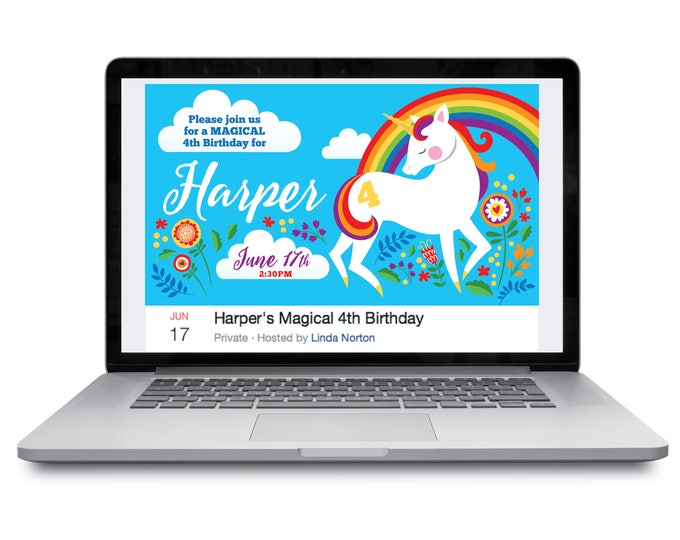 Unicorn Facebook Event Header / Unicorn Birthday / Unicorn Facebook Cover, Customized Facebook Header Page / Digital Files