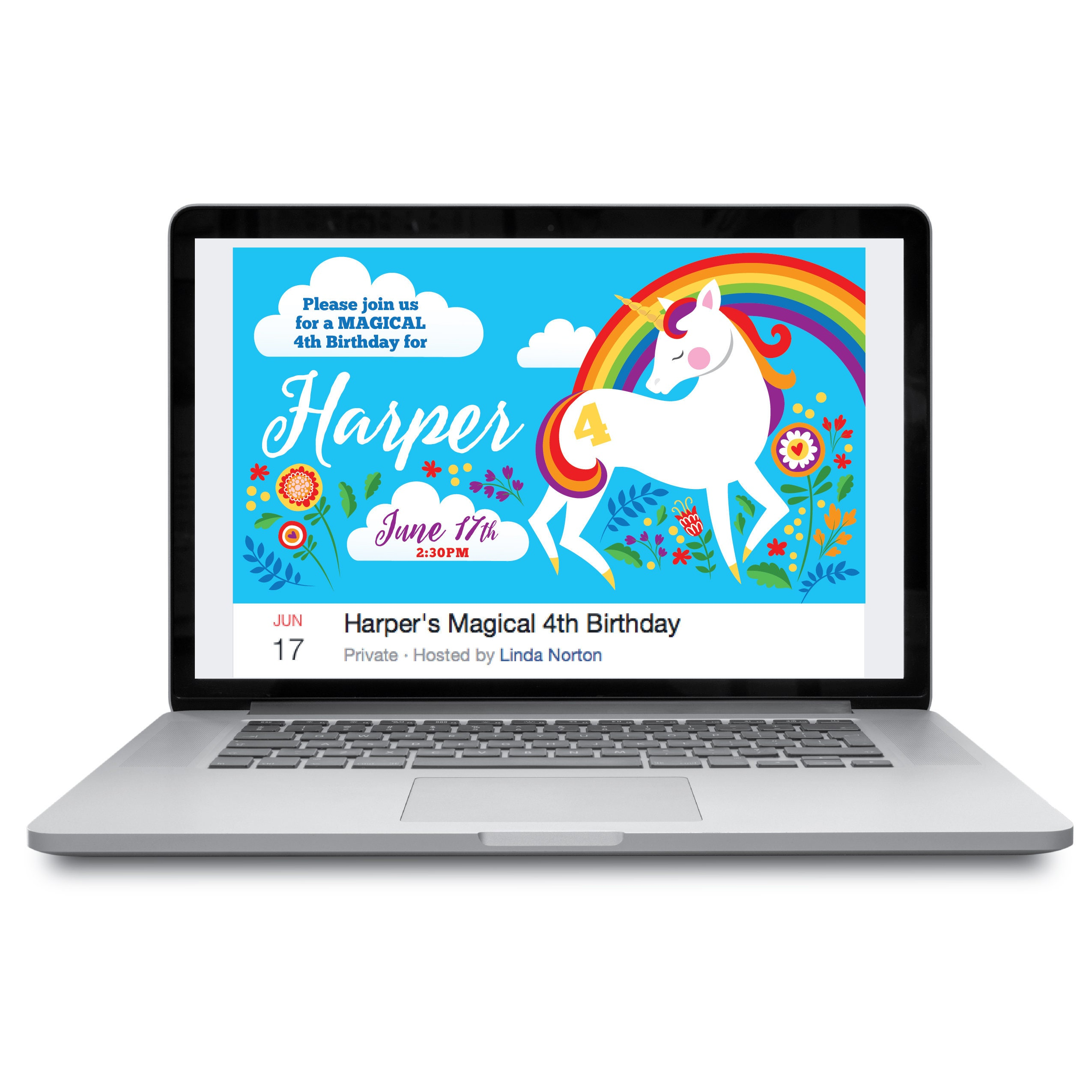 Unicorn Facebook Event Header / Unicorn Birthday / Unicorn ...
