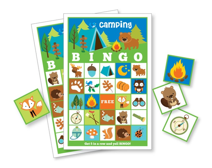 Camping BINGO Game - Kid's Printable Bingo Game - Bingo Game for Kids - Camping Party Game - Nature Bingo - Instant Download