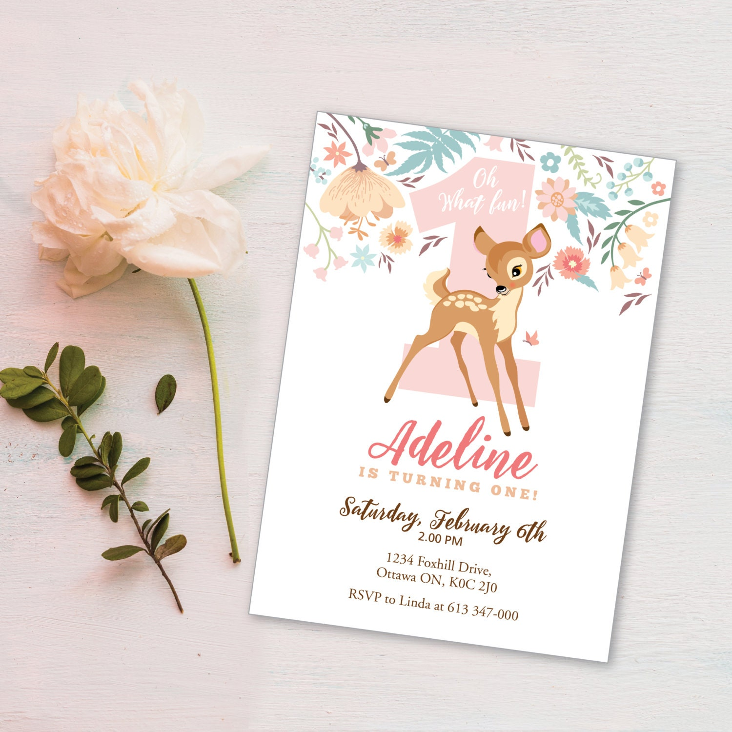 Baby Deer First Birthday Party Invitation, Printable, Customized ...