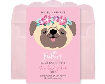 Pug Birthday Party Invitation, Pug Girls Birthday, Printable, Digital Invitation, Puppy Party