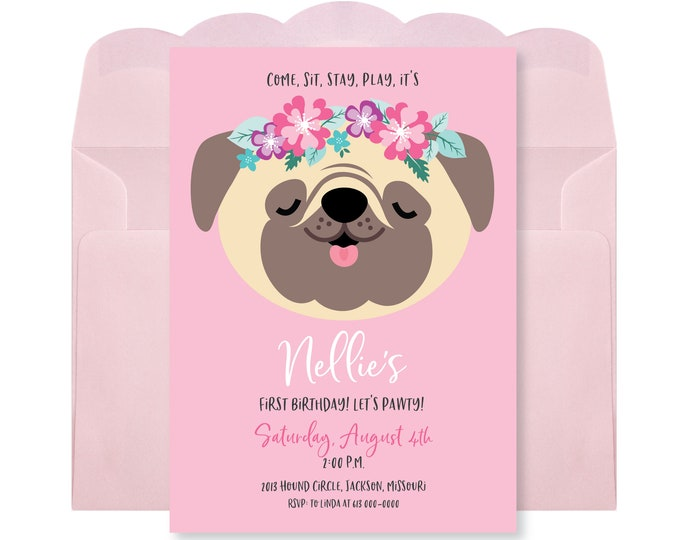 Pug Birthday Party Invitation, Pug Girls Birthday, Printable, Digital Invitation, Puppy Party