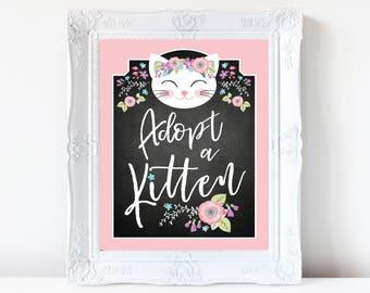 Adopt a Kitten / Certificate / Adoption Sign / Favor Tag / Pink Cat Birthday Party /  Digital Adoption Kit