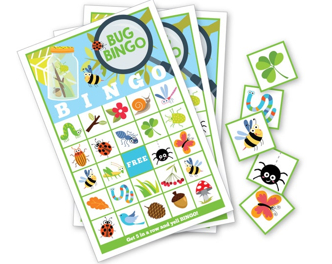 Bug BINGO Game - Kid's Printable Bingo Game - Bingo Game for Kids - Bug & Nature Instant Download